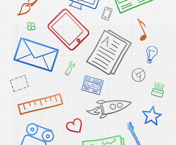 Iconos dibujados en formato PSD