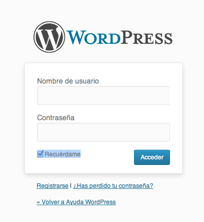 recuerdame login wordpress